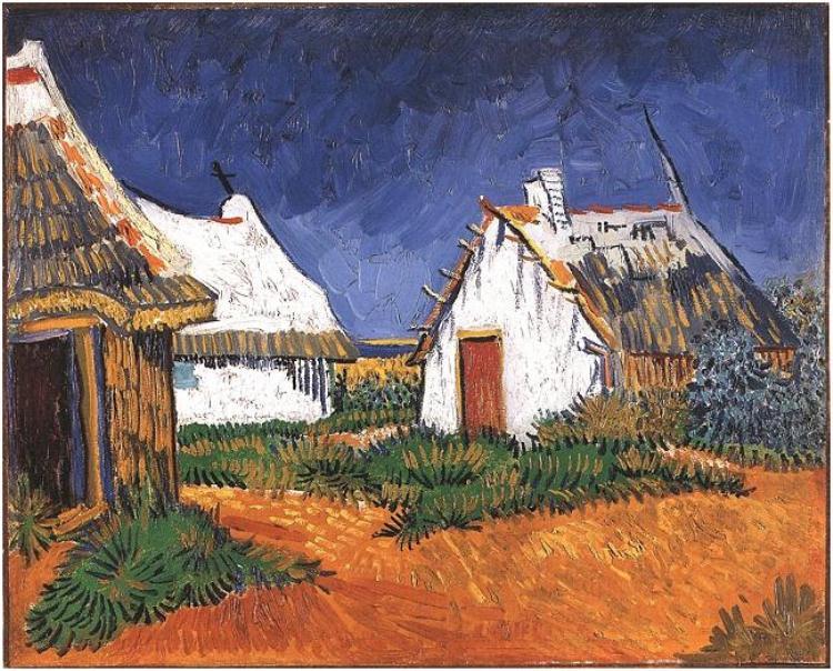 Tres-casas-de-campo-blancas-en-Saintes-Maries